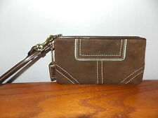 Coach Women's Brown Blue Suede Leather Trim Zip Around Wallet Wristlet L1016