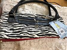 New listing Wild Eye Designs Wine Carrier Tote Freezer Handbag Faux Leather Zebra Print