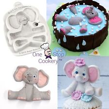 Katy Sue Sugar Buttons BABY ELEPHANT Silicone Cake Mould Jungle Zoo Art & Craft