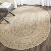 """3X5"""" Natural Jute Braided Rug Oval Area Rag Hand Woven Fabric Floor Rugs"""