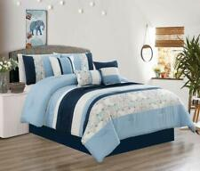King Size Bedding Comforter Set Bed In A Bag - 7Pcs Microfiber Bedding Sets,Blue