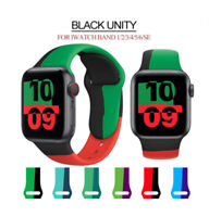 Black Unity iWatch Band Sport Silicone Strap for Apple Watch Series 6 SE 5 4 321