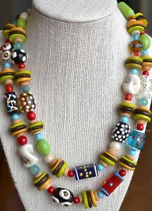 Statement necklace, African style necklace, multistrand millefiori necklace -932