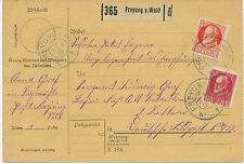 """BAYERN """"FREYUNG v. WALD"""" selt K2 vollständige Paketkarte DEUTSCHE FELDPOST WW1"""