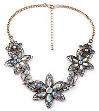 Vintage gold plated clear glass gems 3 flower bib necklace US SELLER