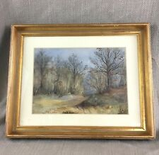 Original Watercolor Painting Woodland Forest Antique Gold Wooden Frame