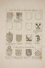 une planche de Blasons par NOLIN, XVII°, héraldique, noblesse