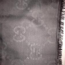 GUCCI Square Silk Wool Blend GG Guccissima Print Scarf Shawl Wrap Grey $540
