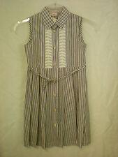 Il Gufo Sommerkleid,  Mädchen Kleid, braun/weiss gestreift, Gr. 8 A (128)