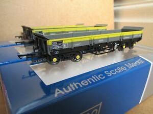 3 Dapol Turbot bogie ballast wagons BR grey/yellow livery