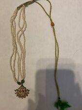 small pearl necklace 4 artificial emeralds American diamonds