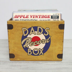 """Dads Record Box Large 80 12"""" Albums Vintage Wooden Vinyl Crate Fathers Day Gift"""