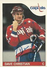 Signed Dave Christian Washington Capitals 85-86 O-PEE-CHEE  Hockey Card #99
