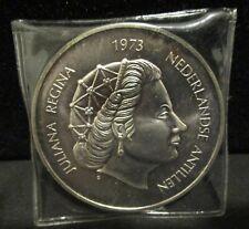 Netherlands Antilles Coin 25 Gulden 1973 Silver .925 45mm    ENN COINS