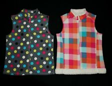 LOT Girl's Old Navy Fleece Full Zip Vest SIZE XL 14 DOT & PLAID
