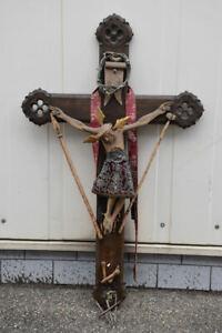 k67e07- Wandkreuz/ Kruzifix, Holz geschnitzt, 19.Jh.