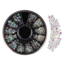 300pcs Glitter 3D DIY Nail Art Wheel Iridescent Reflective Rhinstones Decor