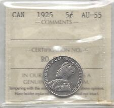 **1925**, ICCS Graded Canadian,  5 Cent, **AU-55**