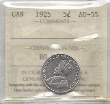 **1925**, ICCS Graded Canadian,  5 Cent, **AU-55**