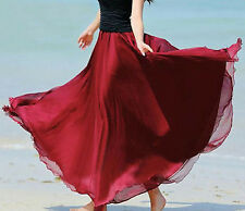Summer Women's Casual Loose Maxi Skirts BOHO Chiffon Ladies long Pleated Skirt