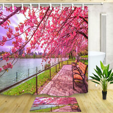 Japan Park Blooming cherry blossoms Waterproof Fabric Bathroom Shower Curtain