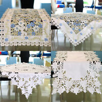 Vintage Flower Embroidered Lace Table Runners Tablecloth Mat Cover Home Decor