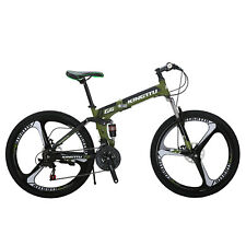 "26"" Folding Mountain Bike Shimano 21 Speed Bicycle Full Suspension Hybid MTB US"