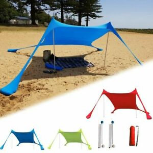Family Beach Lightweight Sun Shade Tent Sandbags Anchor 4 Pegs Outdoor Canopy