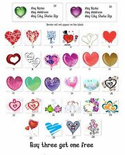 Personalized Return Address labels wedding Hearts Buy 3 get 1 free {ht5}