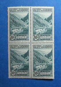 1941 ANDORRA FRENCH 80c SCOTT# 46A MICHEL # 77 UNUSED BLOCK NH           CS26841