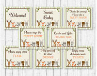 Woodland Animals Baby Shower Table Signs - 8 Printable Signs