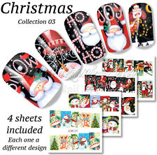 4x Full Cover Nail Art Water Stickers Wraps Transfers Christmas Santa Snow BN238