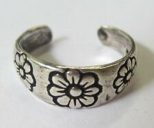 Sterling Silver Adjustable Toe Ring Flower Design Solid 925 Oxidized Jewelry