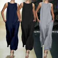 Size Women Summer Sleeveless Loose Wide Leg Jumpsuit Casual Baggy Pants Overalls