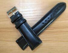22MM Black Genuine Leather Plain Watch Band Strap Polish Buckle Free Ship