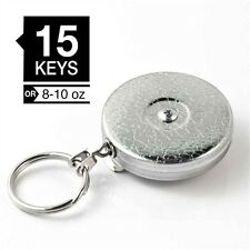 "KEY-BAK #3 Chrome Model ORIGINAL Retractable 24"" Chain Key Ring Reel w/Belt Loop"