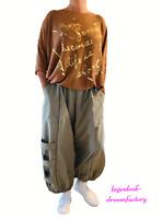 Lagenlook übergrosse  Ballonhose Taschen Bänder Nylon-Taft KHAKI XXL,XXXL,XXXXL