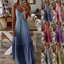 Women Plus Size Strappy Tie Dry Long Maxi Kaftan Dress Summer Beach Sundress