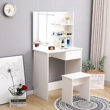 Coiffeuse table de maquillage d'angle avec miroir&étagère tabouret commode blanc