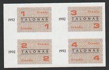 Lithuania Food coupons uncut 1992 UNC December