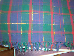 NAVY, RED, GREEN & GOLD SQUARE TABLECLOTH