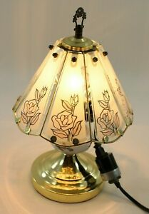 Vintage Tiffany Style Glass Panel Touch Control Table Lamp Rose Art Work