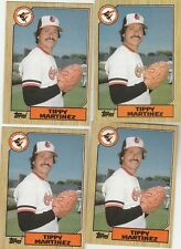 FREE SHIPPING-MINT-1987 Topps Baltimore Orioles  #728 Tippy Martinez-4 CARDS