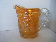 Carnival Glass Star Medallion Amelia Iridescent Milk Pitcher Marigold