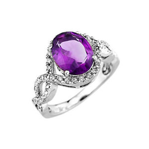 Solid Gold Ladies Amethyst & Diamond Infinity Engagement Ring.In (/Rose/White)
