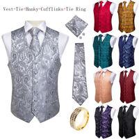 DiBanGu Mens Paisley Waistcoat Vest Woven Necktie Tie Ring Hanky Cufflinks Set