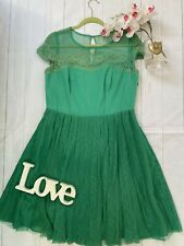 Coast Size 16 green lace fit flare 60's style party occasion dress VGC summer