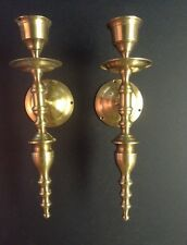 """Pair Heavy Brass Wall Sconce Candle Holder India 11 1/2"""""""