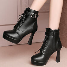 Women Platform Leather Booties Punk Lace-up Chunky High Heels Winter Ankle Boots