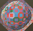 Colorful Vintage Victor Vasarely Op Art Print Mid Century Modern Wall Hanging